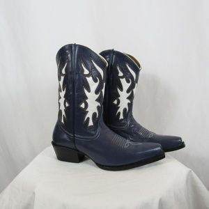 Corral Western Blue White Leather Cowboy Boots
